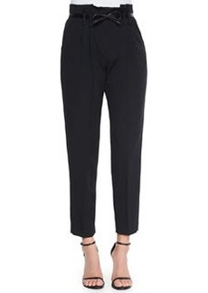 Paperbag Cropped Pleated Trousers   Paperbag Cropped Pleated Trousers