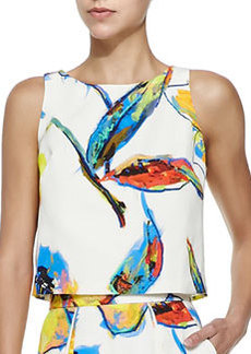Pop Art Floral-Print Cropped Top   Pop Art Floral-Print Cropped Top