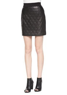 Quilted Banded Leather Miniskirt   Quilted Banded Leather Miniskirt