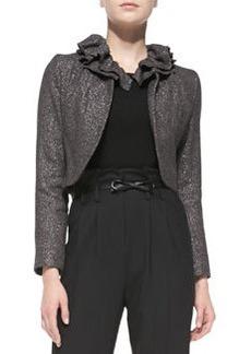 Ruffled-Collar Tweed Jacket   Ruffled-Collar Tweed Jacket