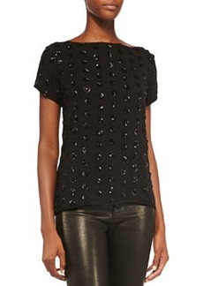 Short-Sleeve Sequined Dot Tee   Short-Sleeve Sequined Dot Tee