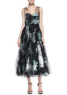 Sleeveless Floral Overlay Cocktail Dress   Sleeveless Floral Overlay Cocktail Dress