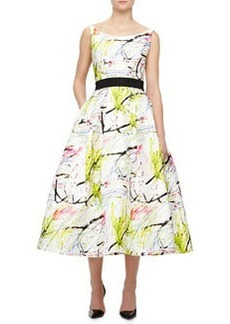 Milly Sleeveless Scribble-Print Tea Dress, White, Multicolor