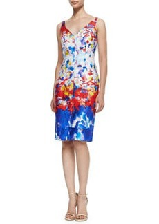 Sleeveless Watercolor-Print Sheath Dress   Sleeveless Watercolor-Print Sheath Dress