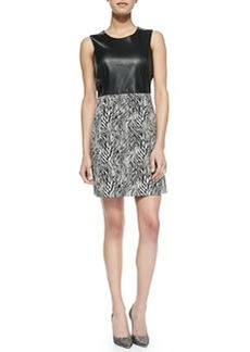 Sleeveless Zebra-Print Leather-Top Dress   Sleeveless Zebra-Print Leather-Top Dress