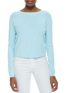 Milly Speckled Pullover Raglan Sweater, Aqua/White