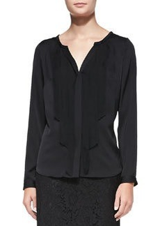 Streamer-Front Stretch-Silk Blouse   Streamer-Front Stretch-Silk Blouse