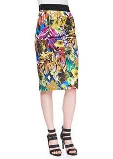 Tropical-Print Midi Skirt   Tropical-Print Midi Skirt