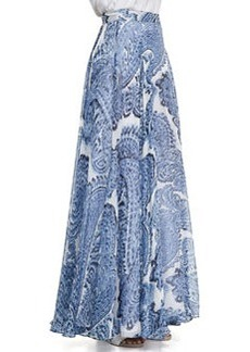Watercolor Paisley-Print Maxi Skirt   Watercolor Paisley-Print Maxi Skirt