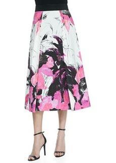 Winter Orchid-Print Tea-Length Skirt   Winter Orchid-Print Tea-Length Skirt