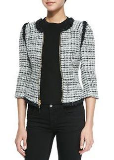 Zip-Front Jacket with Fringed Trim   Zip-Front Jacket with Fringed Trim