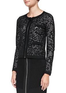 Zip-Front Lace Jacquard Jacket   Zip-Front Lace Jacquard Jacket