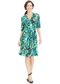 Miraclesuit Elbow-Sleeve Faux-Wrap Printed Dress