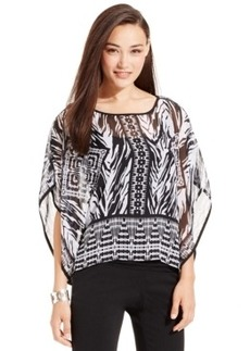 Miraclesuit Shaping Printed Chiffon Poncho Top