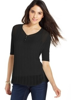Miraclesuit Shaping Sheer Knit-Back Henley Top