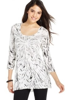Miraclesuit Shaping Three-Quarter-Sleeve Printed Top