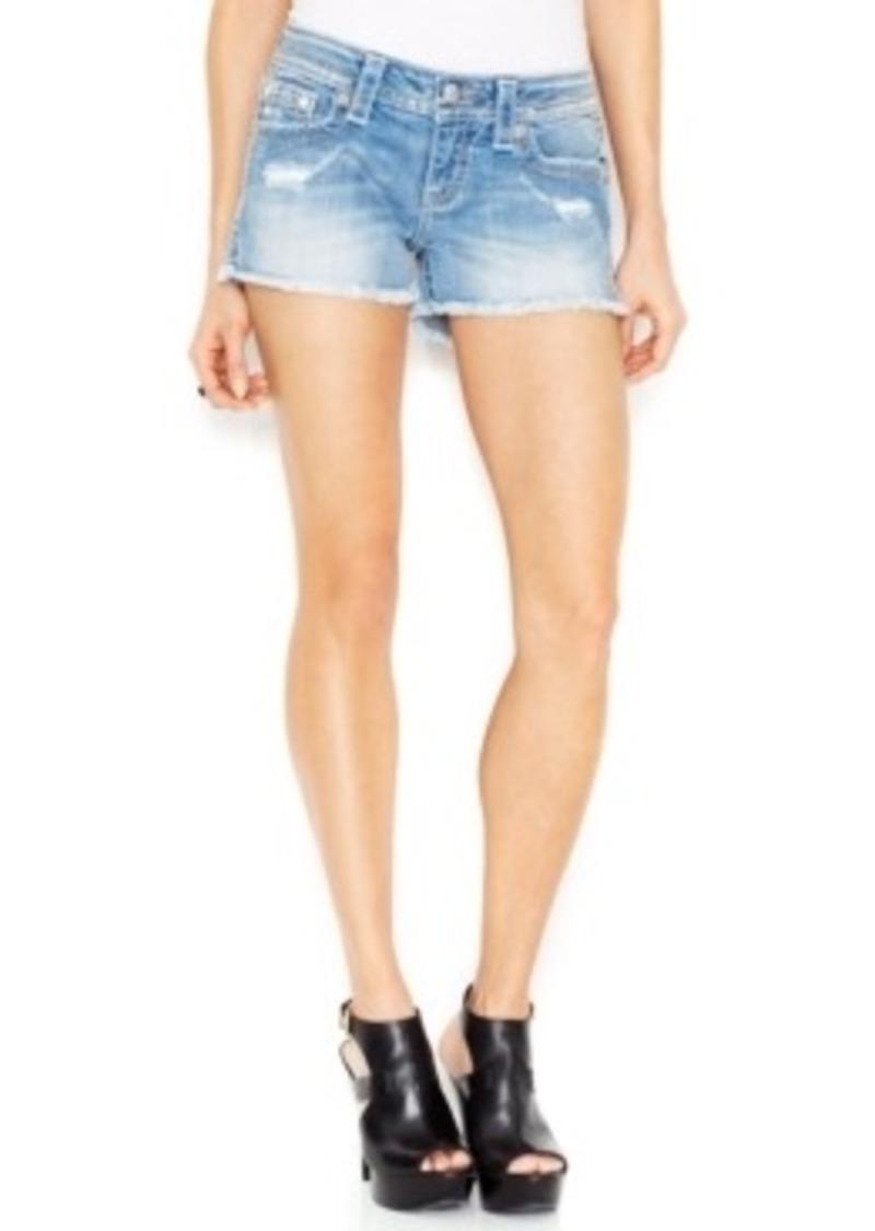 Miss Me Miss Me Distressed Jean Shorts, Medium Blue Wash ...