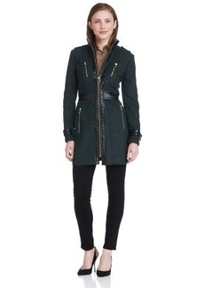 Miss Sixty Women's Zip Front Jacket With Faux-Leather Trim
