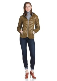 Miss Sixty Women's Zip Front Packable Down Silver Hardware Jacket