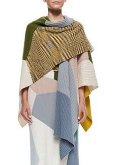 Colorblock Rib Knit Cashmere Shawl, Olive/Multi   Colorblock Rib Knit Cashmere Shawl, Olive/Multi