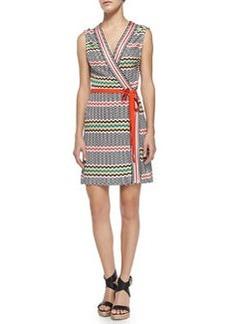 Copricost Printed/Striped Wrap Dress   Copricost Printed/Striped Wrap Dress