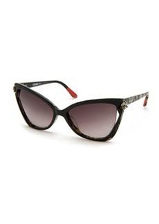 Crystal-Detail Cat-Eye Sunglasses, Black/White   Crystal-Detail Cat-Eye Sunglasses, Black/White