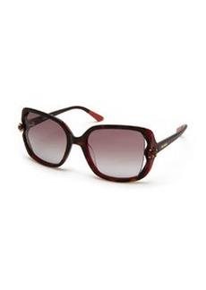 Crystal-Detail Square Sunglasses, Havana   Crystal-Detail Square Sunglasses, Havana