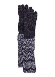 Metallic Zigzag Knit Gloves, Purple   Metallic Zigzag Knit Gloves, Purple