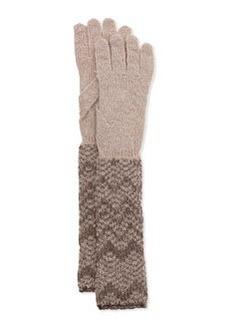 Metallic Zigzag Knit Gloves, Silver   Metallic Zigzag Knit Gloves, Silver