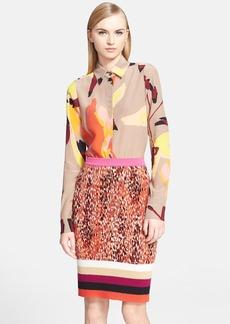Missoni Abstract Print Long Sleeve Silk Blouse