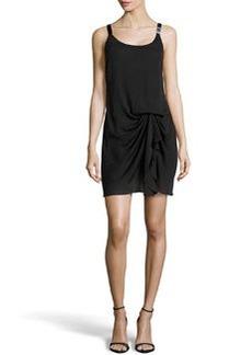 Missoni Beaded-Strap Gathered Cocktail Dress, Black