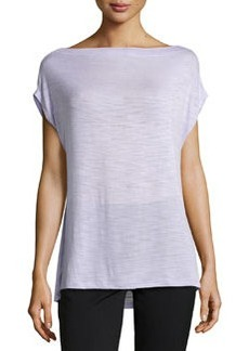 Missoni Burnout Off-The-Shoulder Slub-Knit Tee, Frosted Lilac