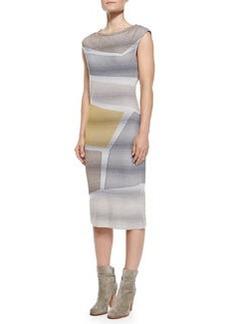 Missoni Cap-Sleeve Metallic Intarsia Dress, Gray/Yellow/Multi