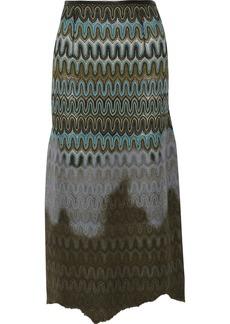 Missoni Crochet-knit and brushed-felt skirt
