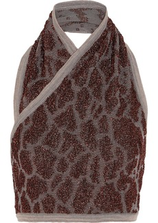 Missoni Cropped metallic jacquard-knit top