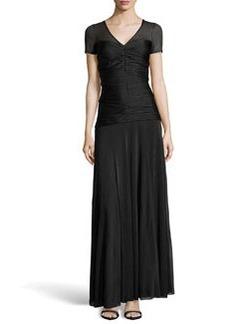 Missoni Draped Crystal Pleated Illusion Gown, Black