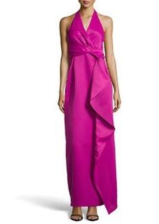 Missoni Folded-Front Halter Gown, Magenta/Petunia
