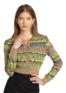 Missoni gold and brown pointelle glitter wave cardigan