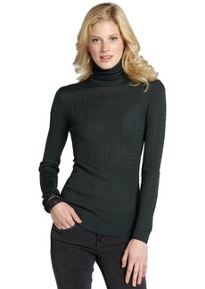 Missoni green ribbed turtleneck sweater with open knit tonal stripe