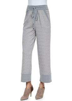 Missoni Irregular Wave-Jacquard Drawstring Pants, Light Gray
