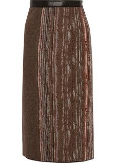 Missoni Leather-trimmed metallic stretch-knit skirt