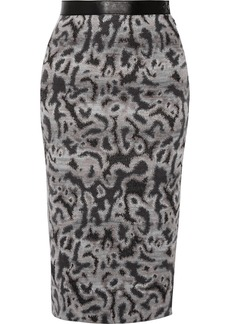 Missoni Leather-trimmed stretch-knit skirt