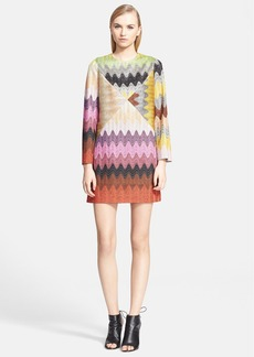 Missoni Long Sleeve Patchwork Wave Stitch Shift Dress