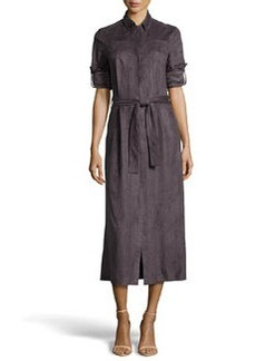 Missoni Long Ultrasuede® Belted Shirtdress, Charcoal