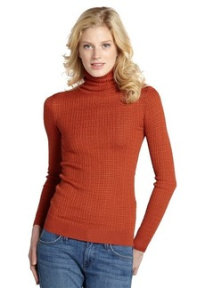 Missoni orange ribbed turtleneck sweater with open knit tonal stripe