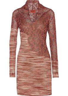 Missoni Paneled metallic crochet-knit mini dress