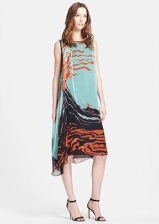 Missoni Side Drape Print Silk Midi Dress
