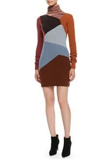 Missoni Turtleneck Colorblock Cashmere Sweaterdress, Brown/Multi