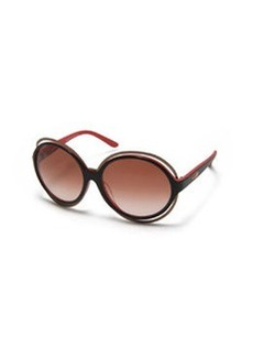 Round Two-Tone Acetate Sunglasses, Black/Red   Round Two-Tone Acetate Sunglasses, Black/Red