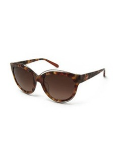 Rounded Cat-Eye Sunglasses, Brown Havana   Rounded Cat-Eye Sunglasses, Brown Havana